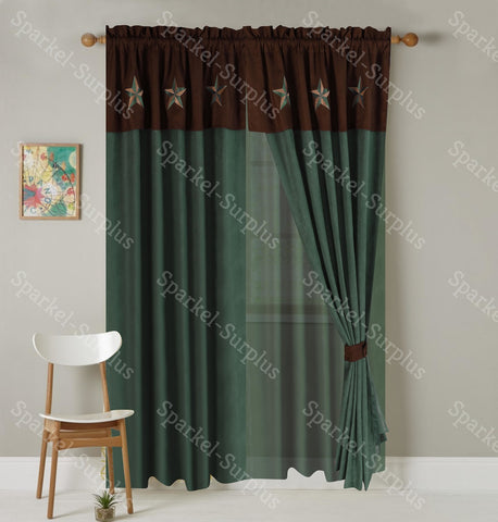 Western Embroidery Star Suede Curtain set  - Turquoise & Dark Brown