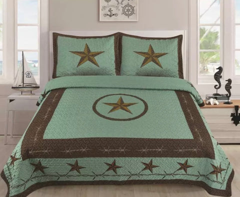 3 PIECE Star Barbed Wire Quilt BedSpread