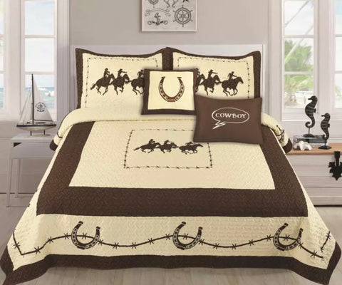 5 Piece Rustic Rodeo Running Horse Western Quilt