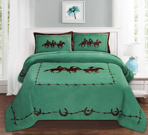 Old West 3Pc Borrego Fleece Comforter Set