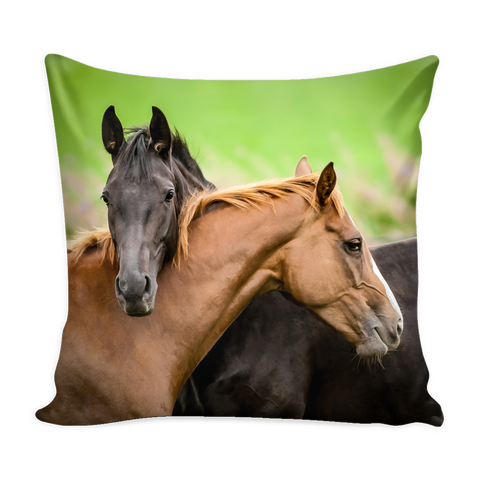 Black & Brown Horse Throw Pillow Cover