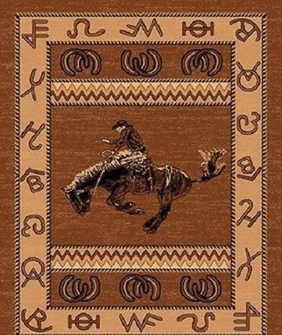 Area Rug - 4' X 6' WESTERN COWBOY AREA RUG - TAN BROWN
