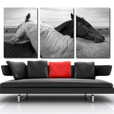 Black & White Horse Love Wall Art 16x20