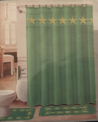 Bathroom - Turquoise Western Texas Star Design- 3 Pcs Bathroom Set- Mat, Contour, & Curtain