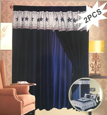 Blue & White Western Embroidery Star Curtain
