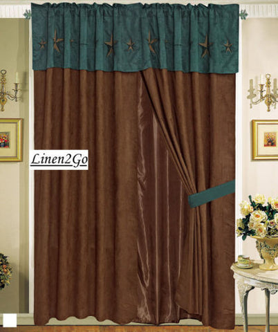 Western Embroidery Star Suede Curtain set With Lining - Brown & Turquoise