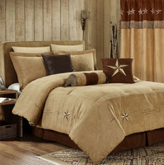 7pc Western Star Embroidery Microsuede Oversize Comforter Set - Coffee