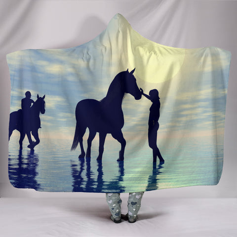 Sunset Horse Hooded Blanket