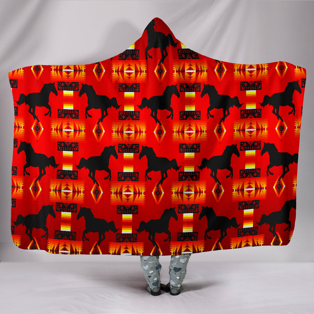 Horse Red Hooded Blanket