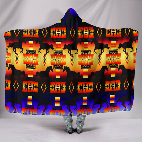 Horse Horizon Hooded Blanket