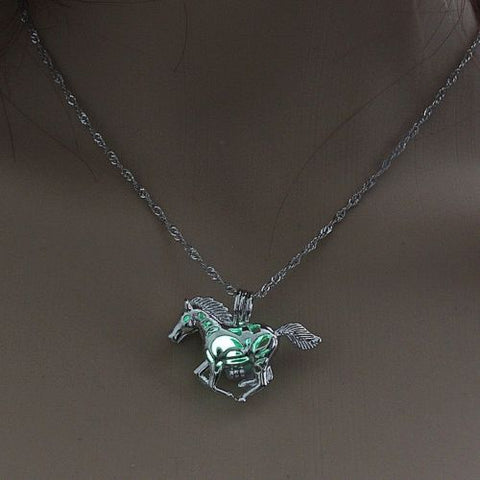 "1-1/4"" x 3/4"" HORSE with GLOW IN THE DARK BALL 18"" Luminous Pendant Necklace"