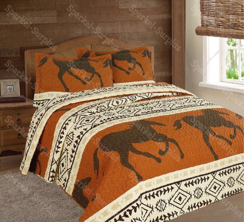 Southwestern Horse 3 Piece Bedding Set