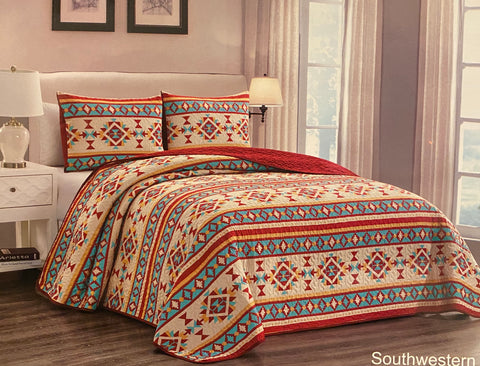 Oversize Southwestern 3 Piece Bedding Set