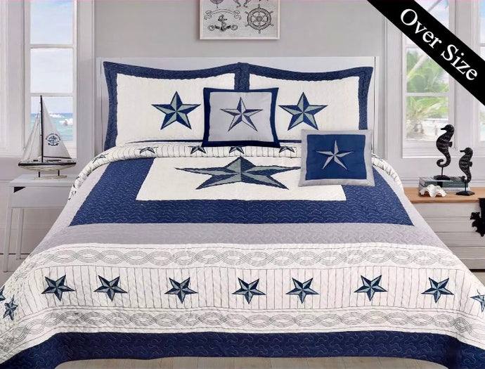Blue & White Star Quilt Set