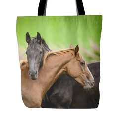 Brown & Black Horse Canvas Tote