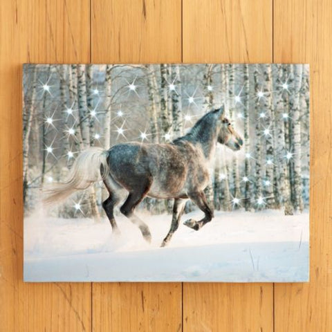 "Lighted LED ""Winter Horse"" Scene Christmas Wall Canvas"