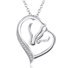 Necklace - 925 Sterling Silver Horse Head Heart Shape Necklace