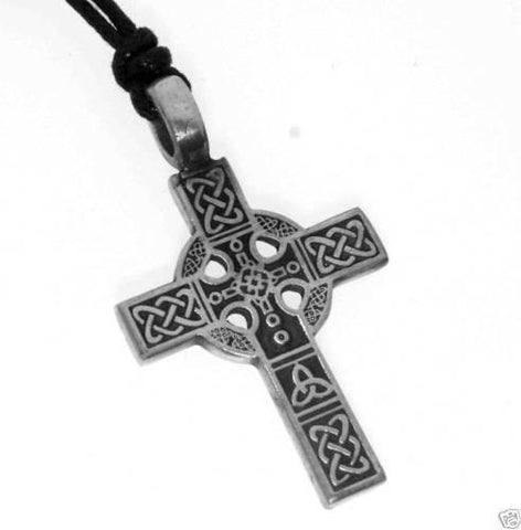Necklace - Silver PEWTER CELTIC Knot CROSS Christian Irish PENDANT