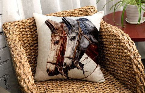 Pillow Case - Vintage Horse Decorative Throw Pillow Case