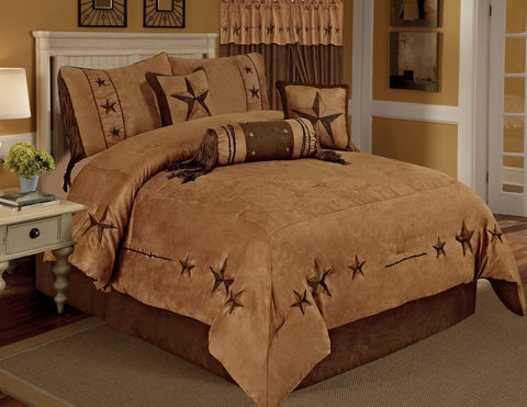 Quilt - Western Cowboy Luxory Comforter Suede - 7 Pieces Set - Tan