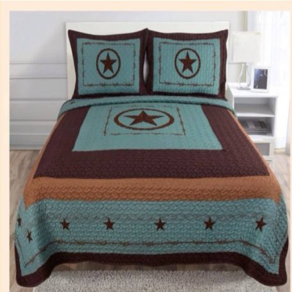 quilt western style 3pc quilt bedspread comforter set turquoise