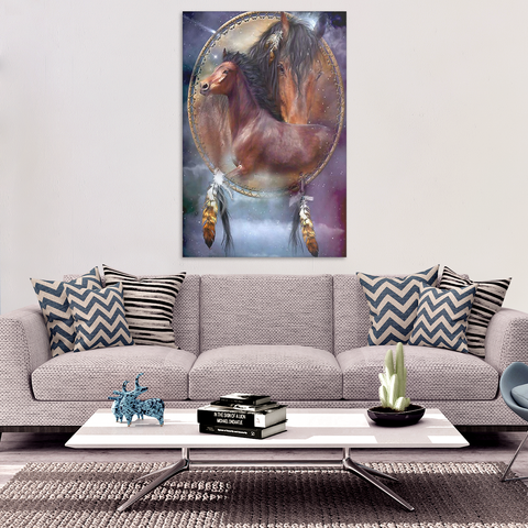 Horse Dream Catcher Canvas Wall Art - Framed and Ready To Hang