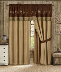 Coffee/Brown Microsuede 4pc Curtain Set