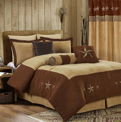 7pc Western Star Embroidery Microsuede Oversize Comforter Set - Brown/Coffee