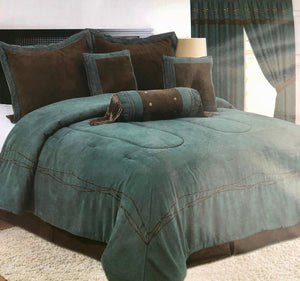Rustic Turquoise & Brown Embroidery Western Luxury Comforter - 7 Pc Set