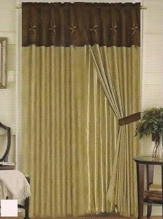 Window Treatments - Western Embroidery Star Suede Curtain With Lining - Beige & Brown