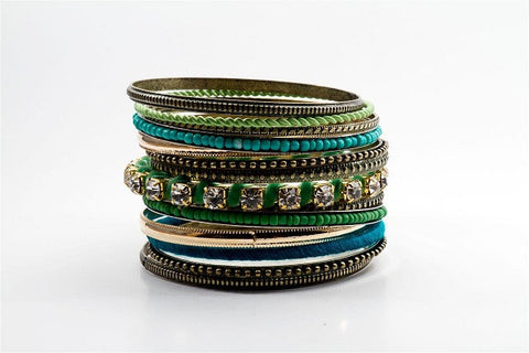 Blue Cocktail Rhinestone Bangles