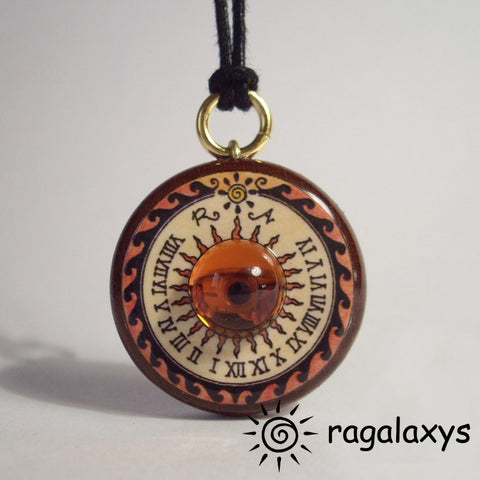 Saturn Sundial Pendant (wood)