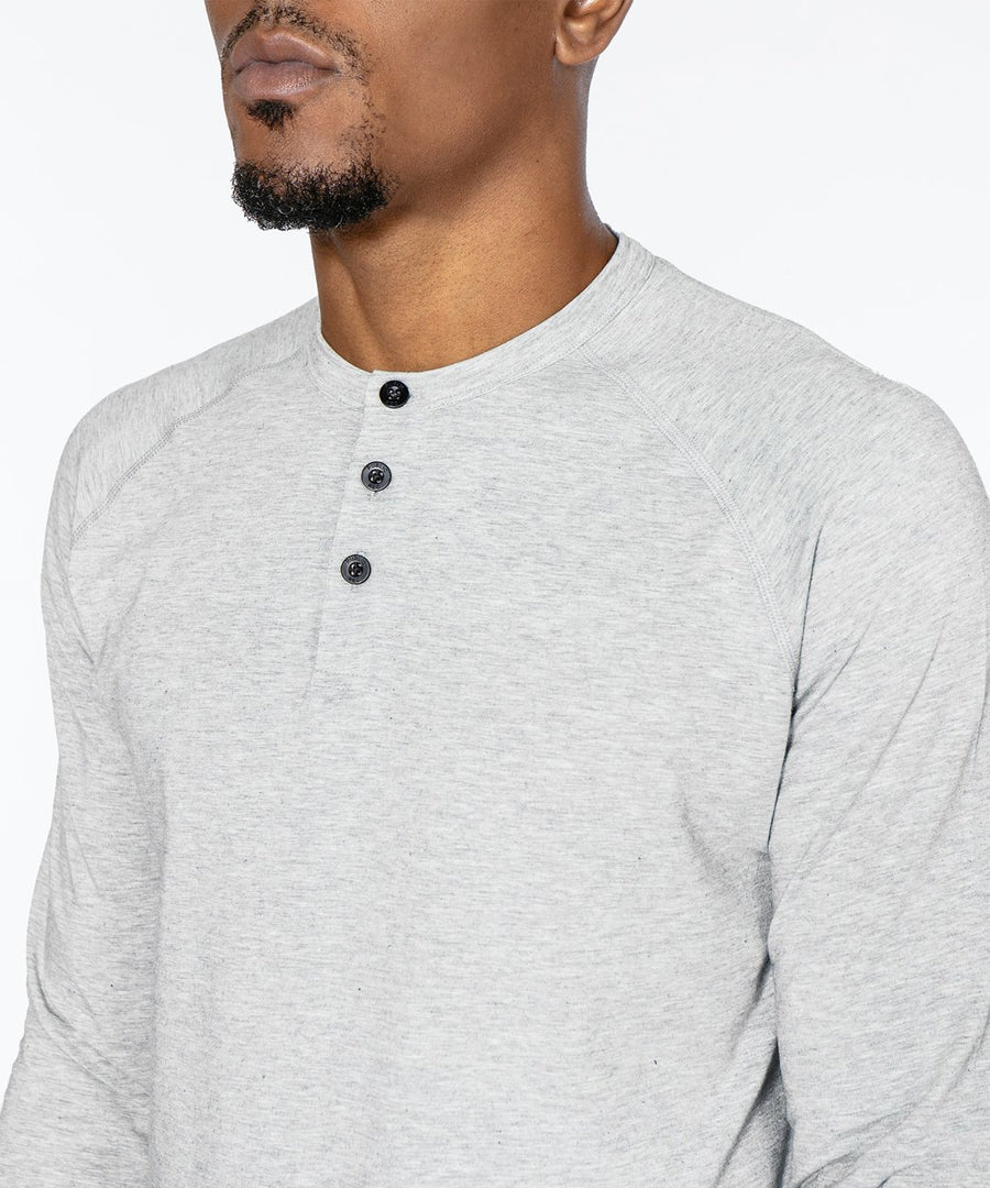 Go-To Long Sleeve Henley | Men's Heather Silver Spoon