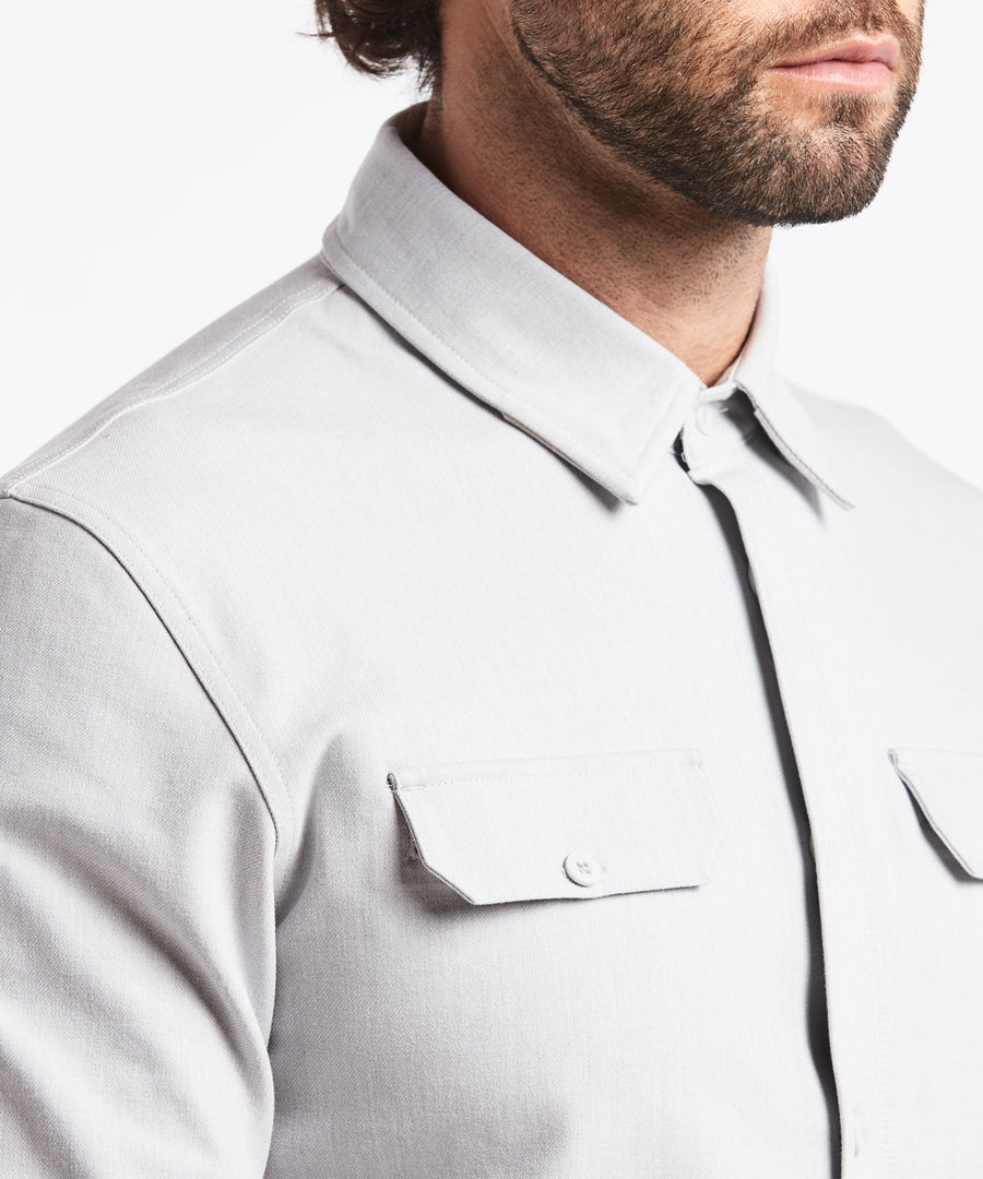 Stretch Thermal Button Down | Men's Heather Silver Spoon