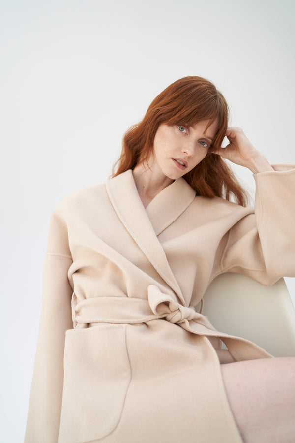 QUAINT ICONIC Dion Wool-Cashmere Robe Coat - Nude