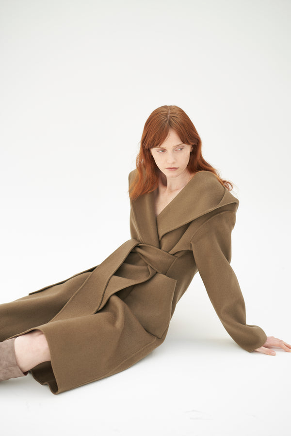 QUAINT ICONIC Lara Wool-Cashmere Coat - Olive