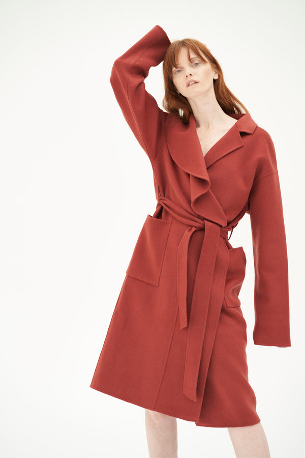QUAINT ICONIC Wool-Cashmere Blaire Coat - Tomato