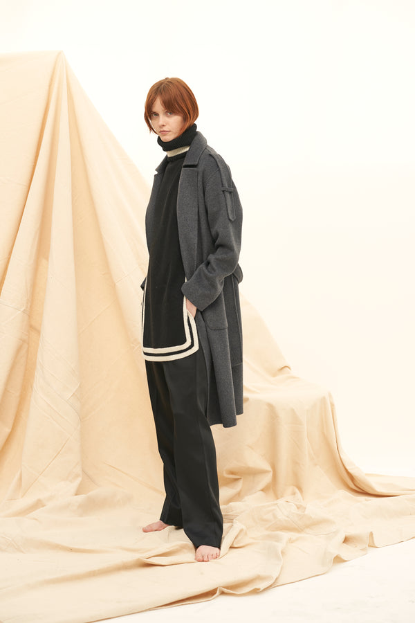 QUAINT ICONIC Wool-Cashmere Aimee Coat - Pebble