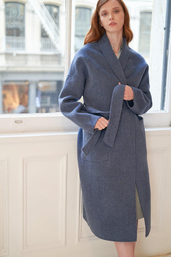 QUAINT FW 2020 DION Cashmere-wool Blend Coat - Stormy Blue