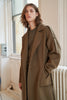 QUAINT MEN FW 2020 JUDE Cashmere-Wool Blend Shoulder Badge Coat - Olive