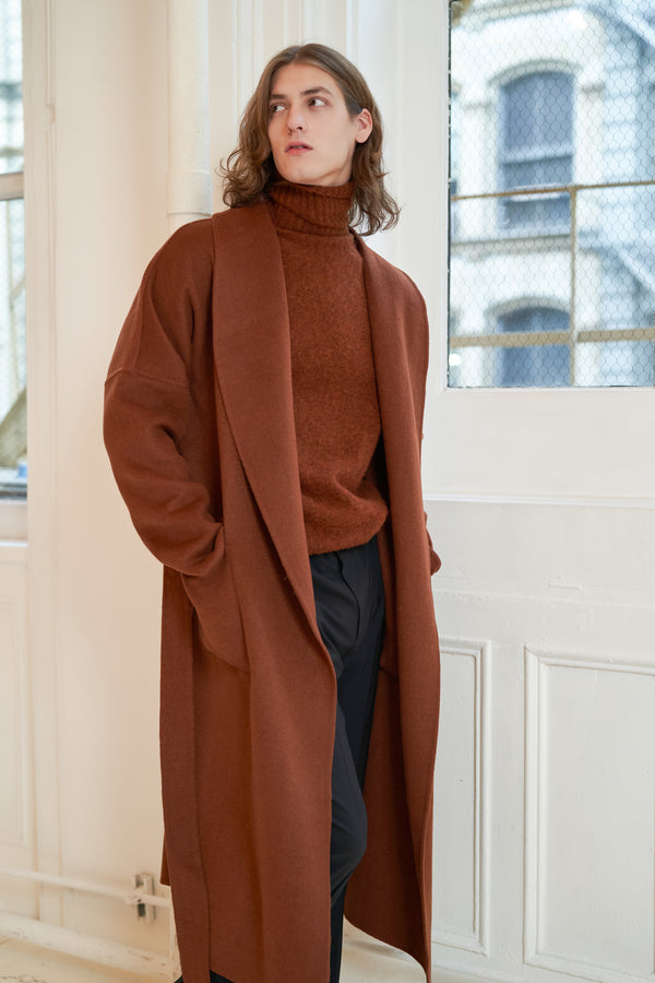 QUAINT MEN FW 2020 DREW Cashmere-Wool Blend Robe Coat - Pecan