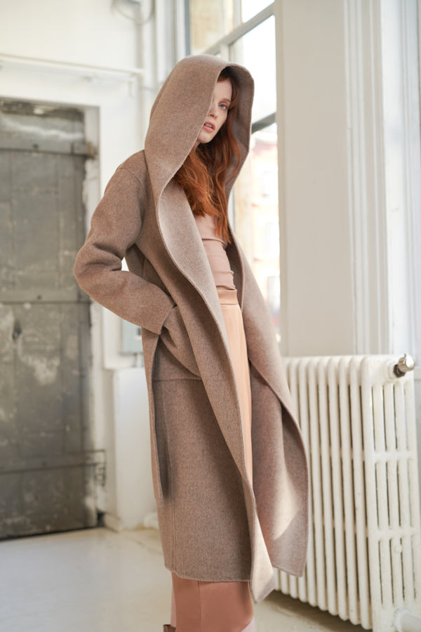 QUAINT FW 2020 LARA Cashmere-wool Blend Hood Coat - Ash