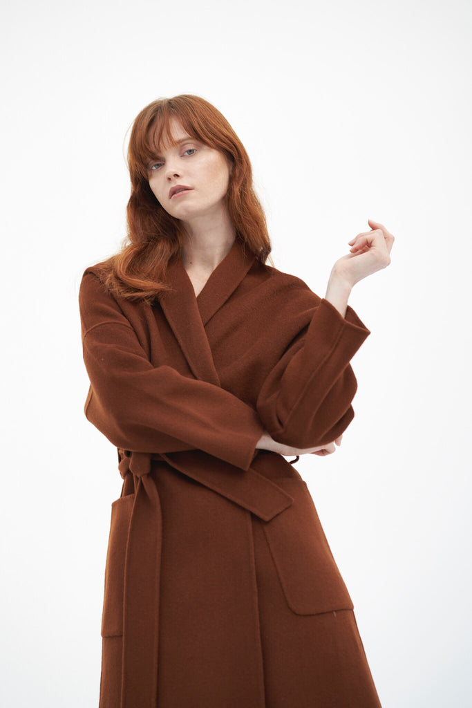 QUAINT ICONIC Dion Wool-Cashmere Robe Coat - Pecan