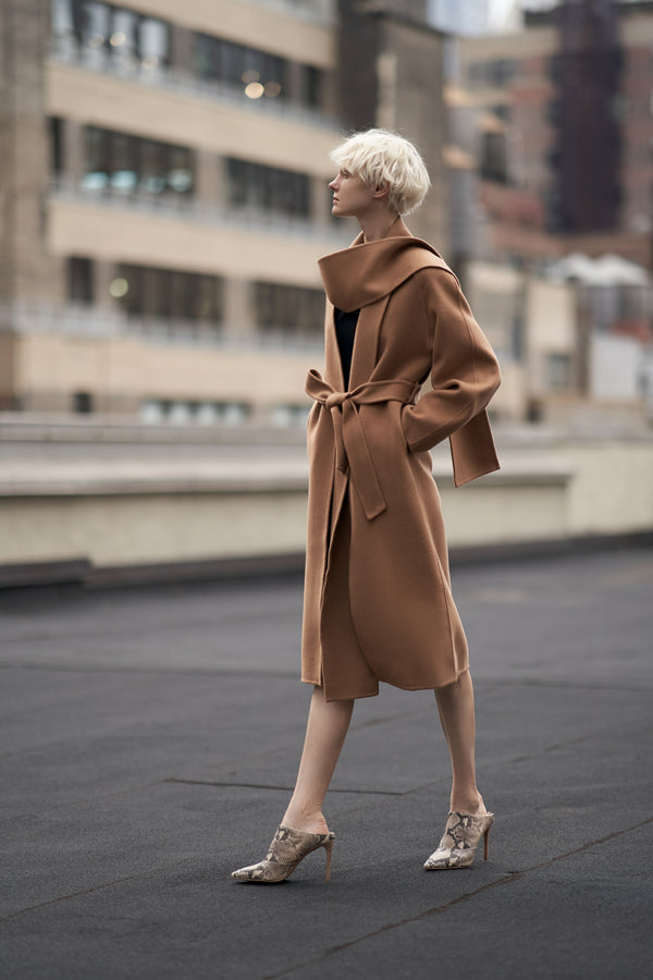 QUAINT ICONIC Faviola Scarf Coat - Camel