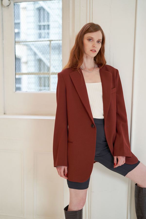 QUAINT Pre-Fall 2020 Roxy Blazer - Burgundy