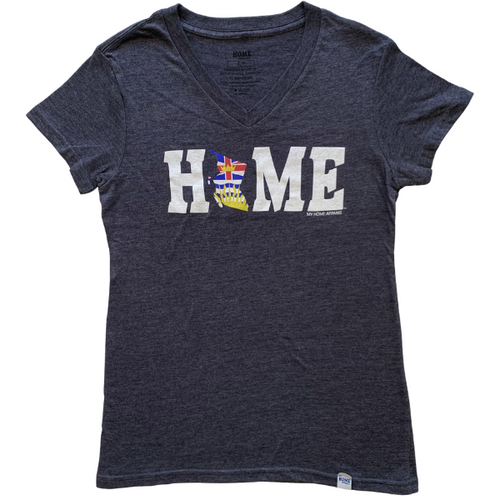 British Columbia HOME Flag Petite Ladies' V-neck
