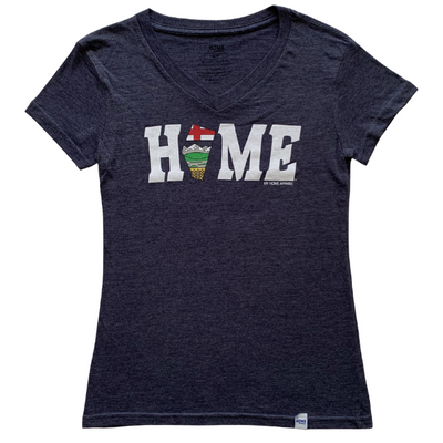 Alberta HOME Flag Petite V-neck T-shirt