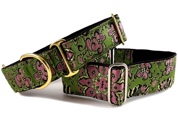 "1.5"" & 2"" Brocade Martingale Collars and Buckle Dog Collars"