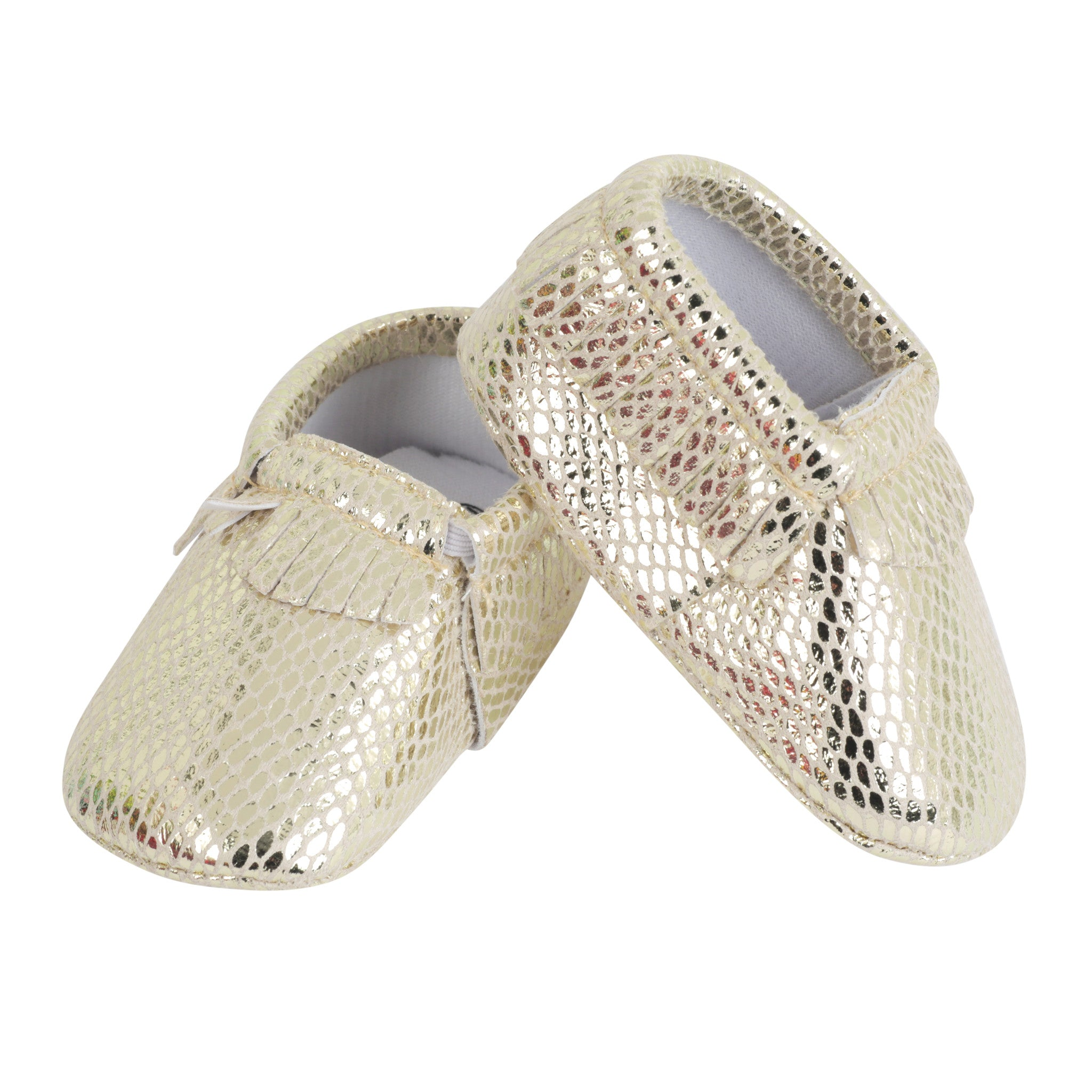 Moccasin, Pre-Walker Baby Shoes - Gold Snakeskin