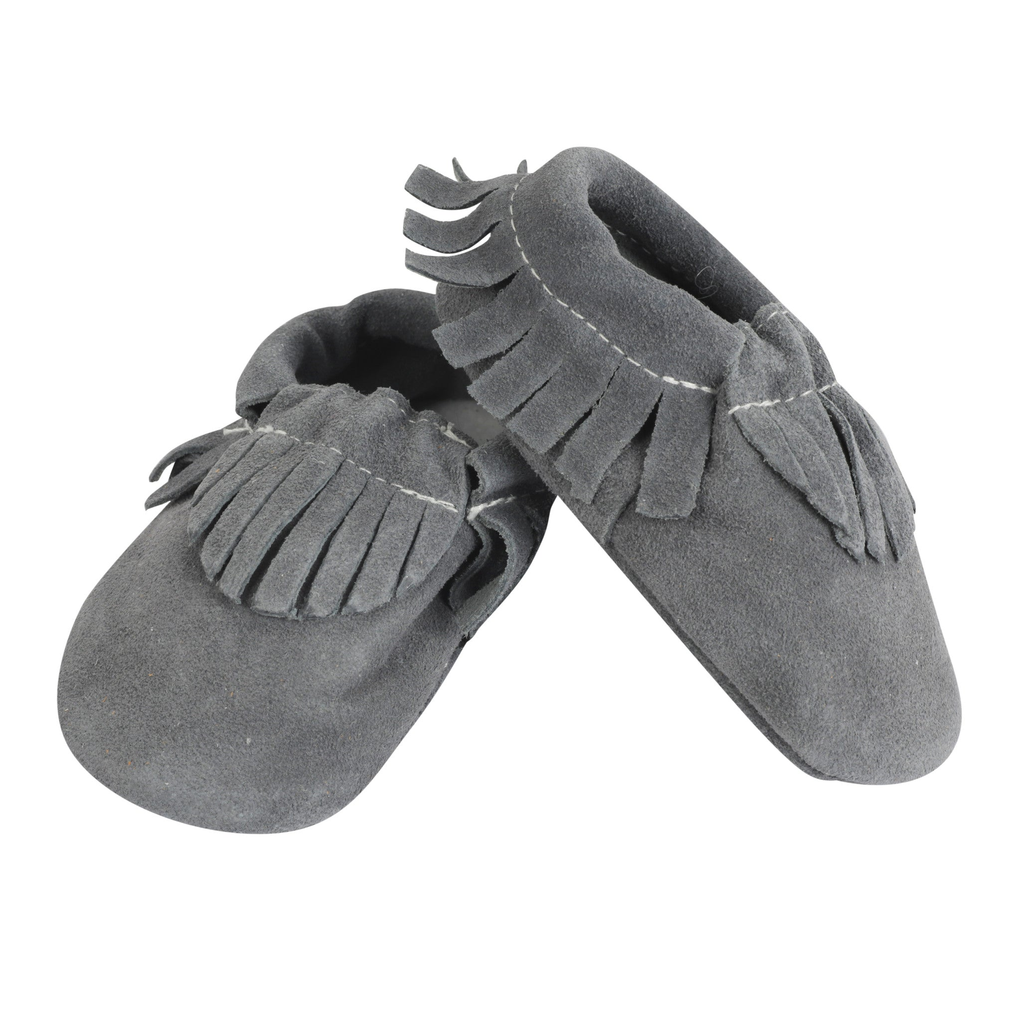 Moccasin, Pre-Walker Baby & Toddler Shoes - Grey Suede